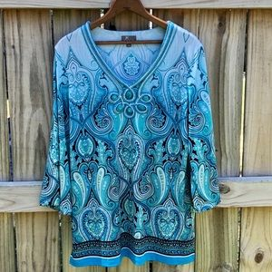 JM Collection Paisley Printed Blouse